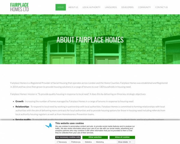 Screenshot of About Fairplace Homes - Fairplace Homes