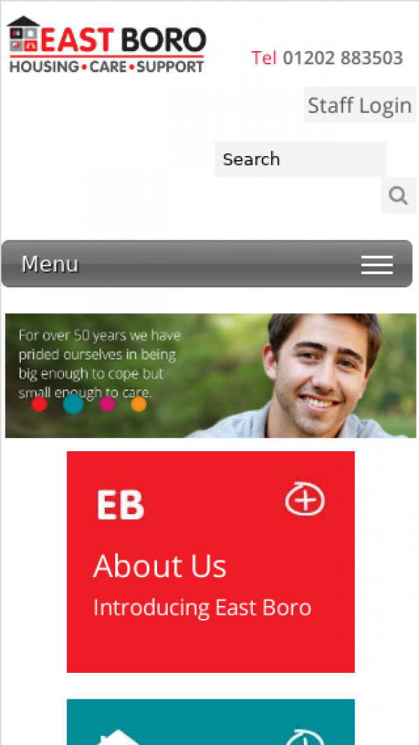 Mobile screenshot of East Boro Housing Trust Limited website