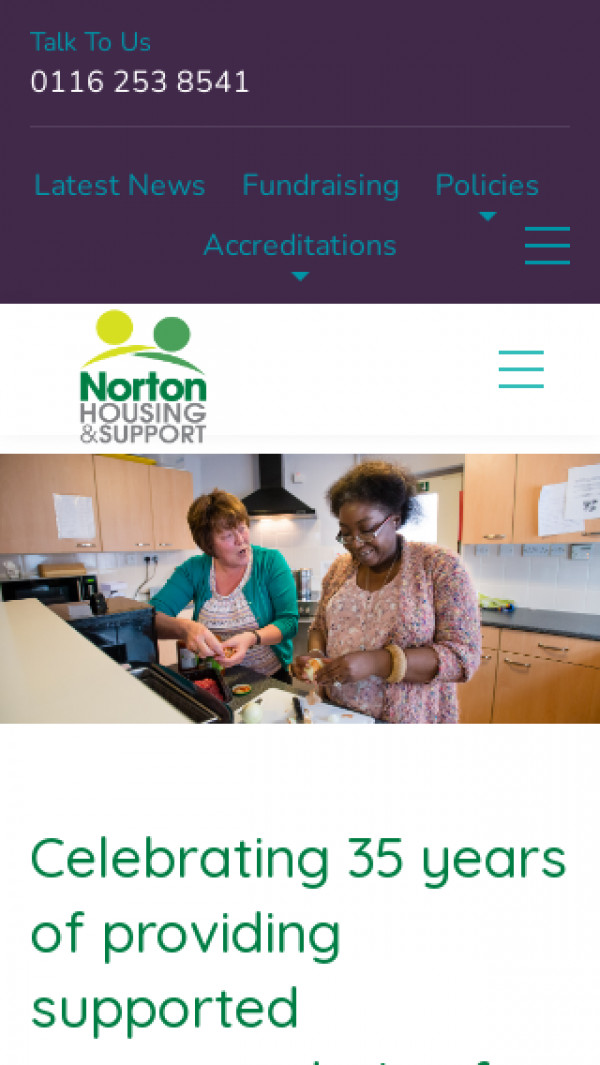 Mobile screenshot of Norton Housing and Support Ltd website