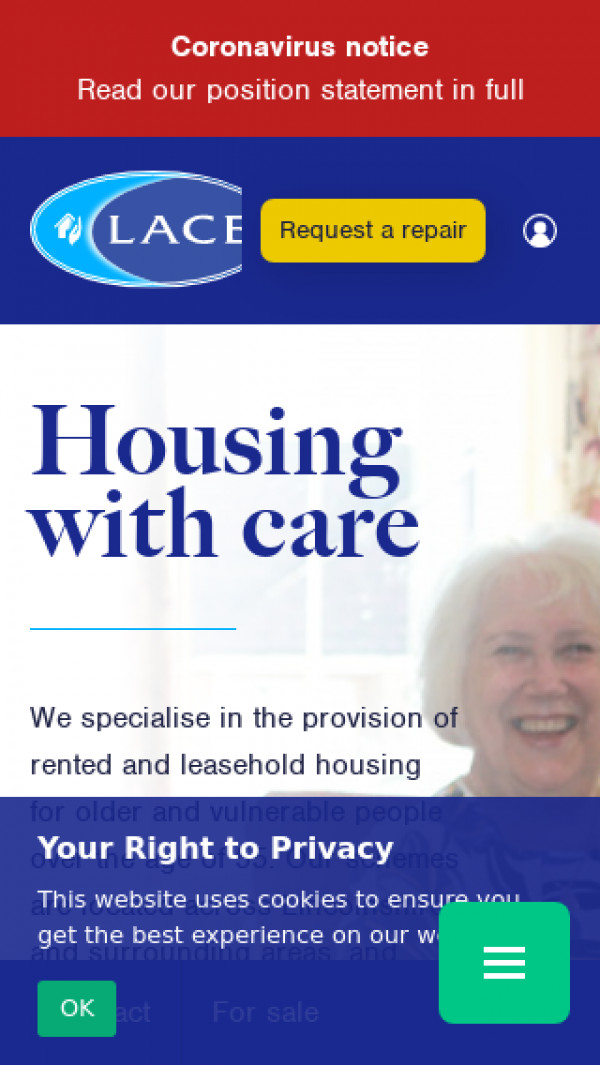 Mobile screenshot of Lace Housing Limited website