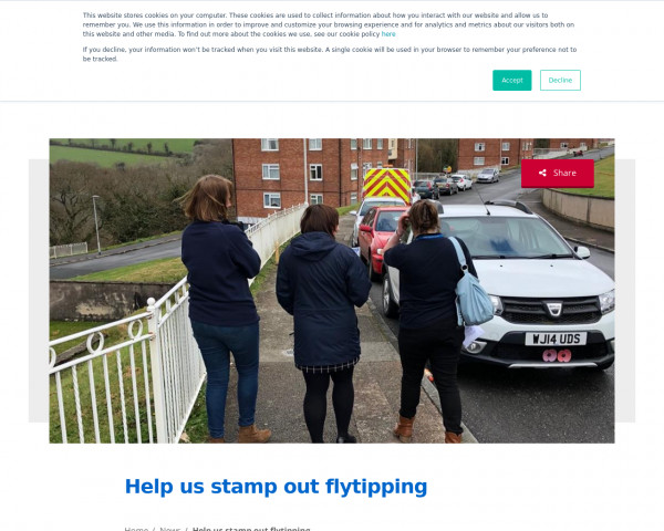 Screenshot of Help us stamp out flytipping - Plymouth Community Homes