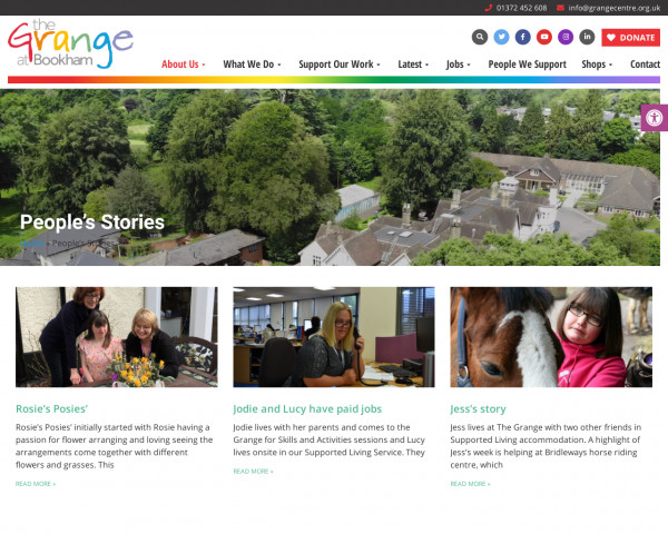 Screenshot of People's Stories » The Grange Centre for people with disabilities