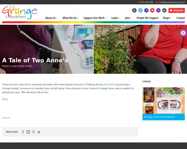 Screenshot of A Tale of Two Anne's » The Grange Centre for people with disabilities