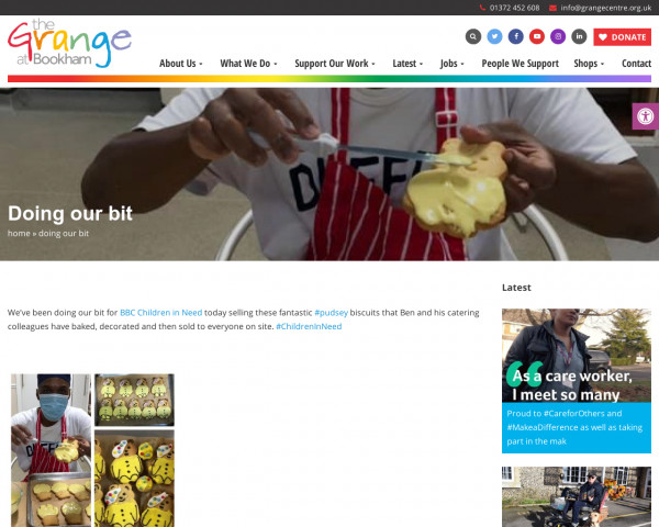 Screenshot of Doing our bit » The Grange Centre for people with disabilities