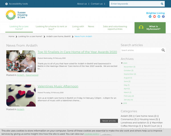 Screenshot of News from Ardath | Sussex Housing Care Website