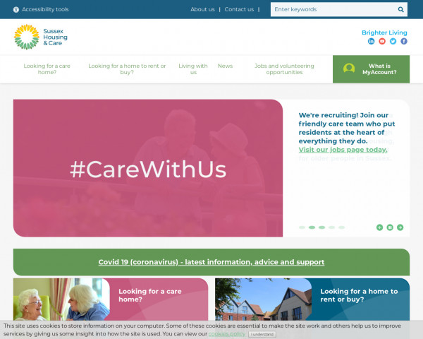 Screenshot of Home | Sussex Housing Care Website