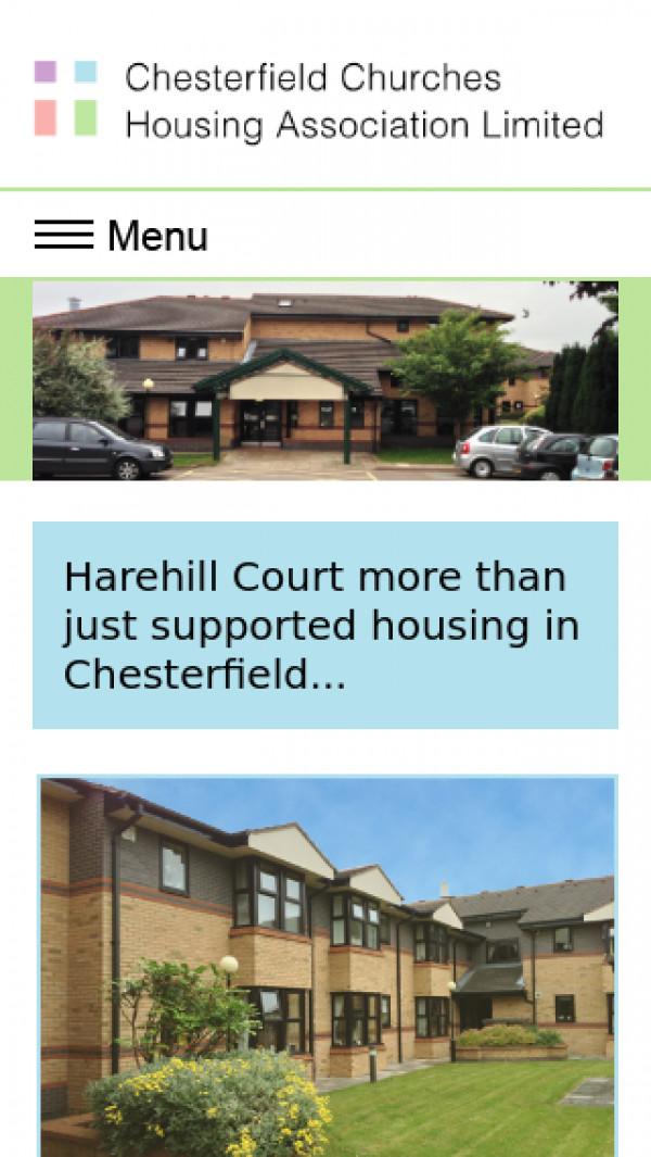 Mobile screenshot of Chesterfield Churches Housing Association Limited website