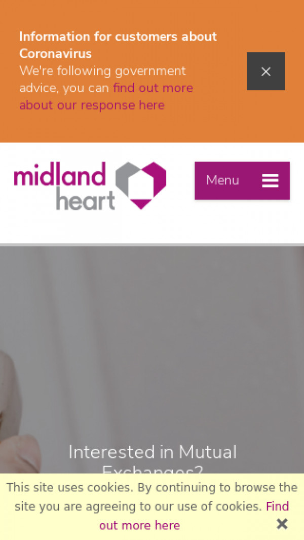 Mobile screenshot of Midland Heart Limited website