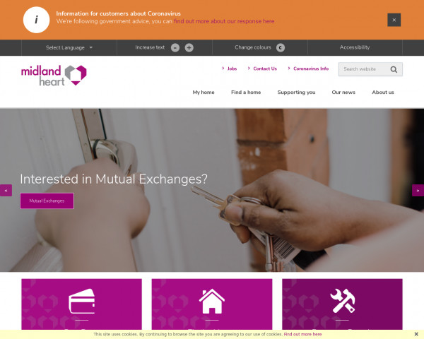 Desktop screenshot of Midland Heart Limited website