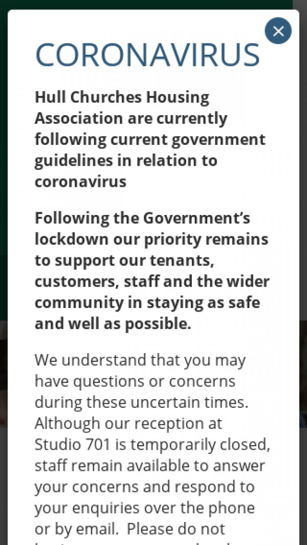 Mobile screenshot of Hull Churches Housing Association Limited website