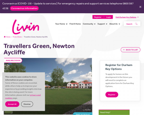 Screenshot of Travellers Green, Newton Aycliffe | www.livin.co.uk
