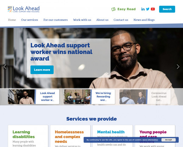 Desktop screenshot of Look Ahead Care and Support Limited website