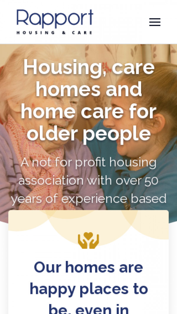 Mobile screenshot of Rapport Housing and Care website