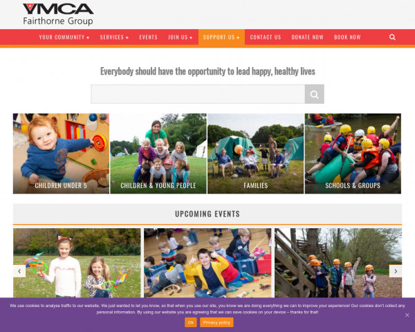 Desktop screenshot of YMCA Fairthorne Group website
