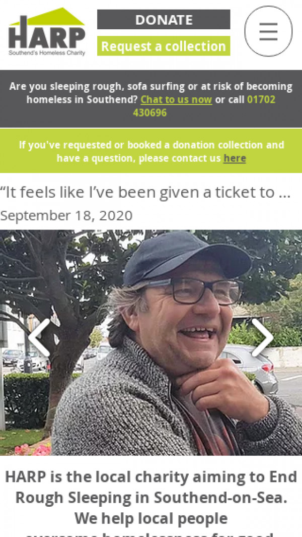 Mobile screenshot of Homeless Action Resource Project website