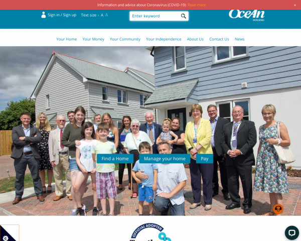 Desktop screenshot of Ocean Housing Group Limited website