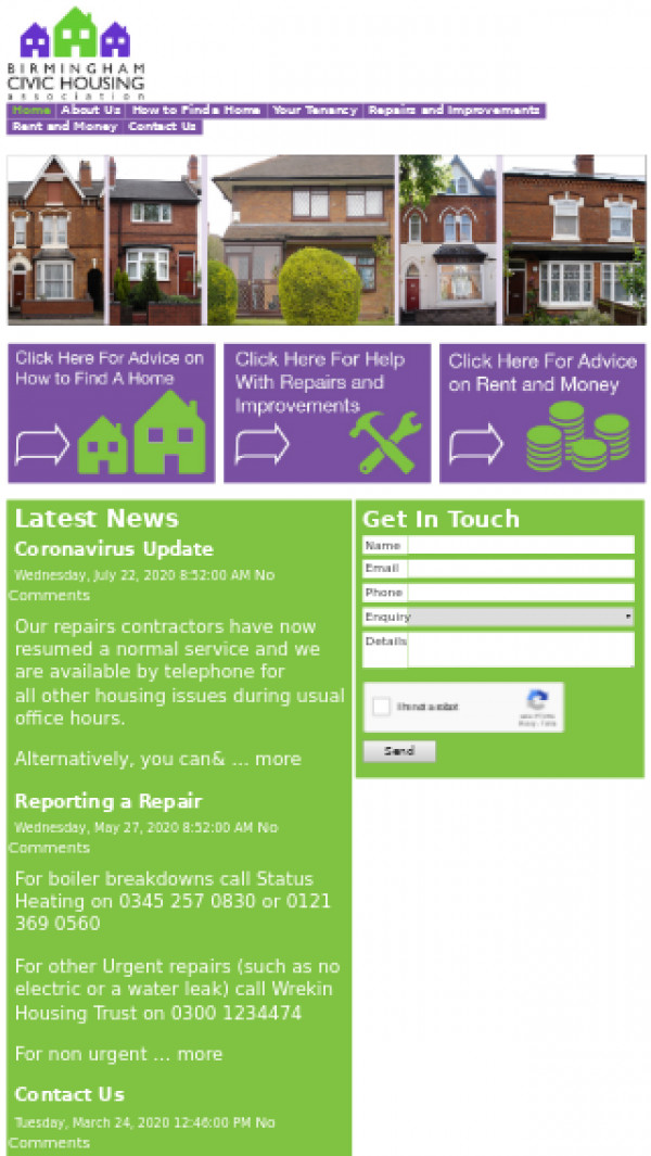 Mobile screenshot of Birmingham Civic Housing Association Limited website