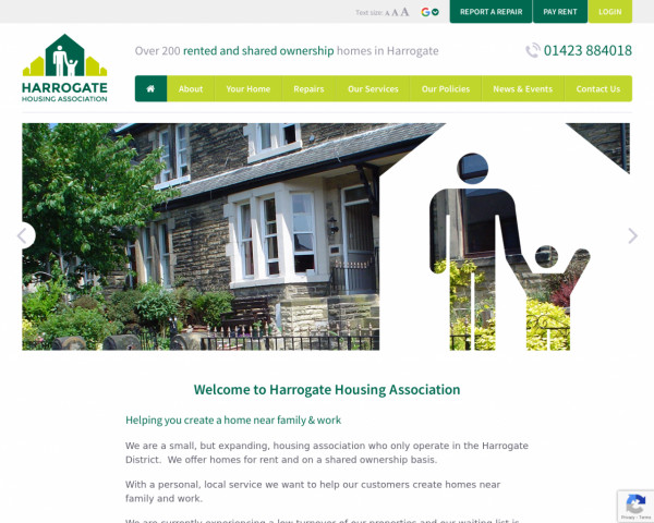Desktop screenshot of Harrogate Housing Association Limited website