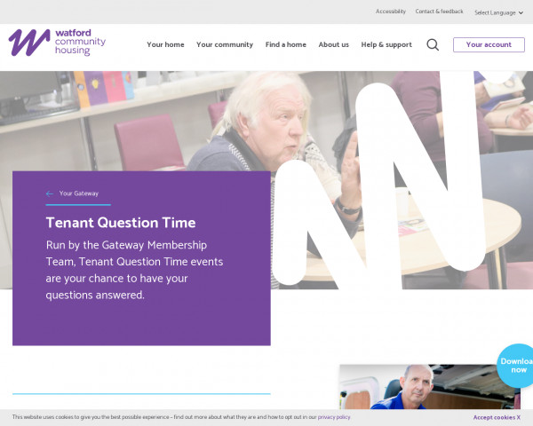 Screenshot of Tenant Question Time | Watford Community Housing