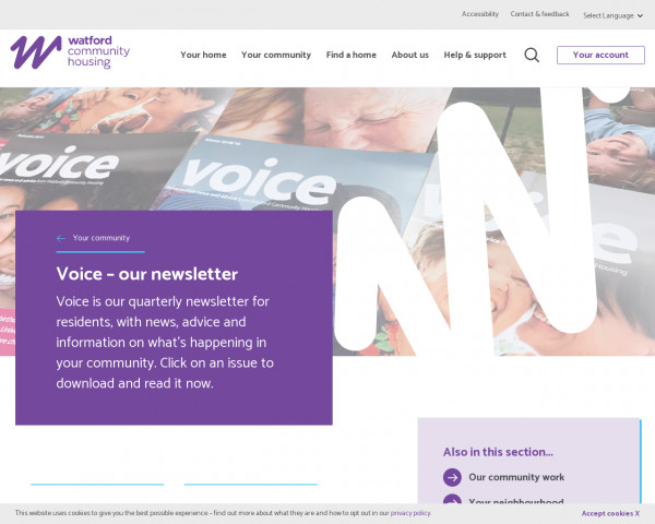 Screenshot of Voice - our newsletter | Watford Community Housing
