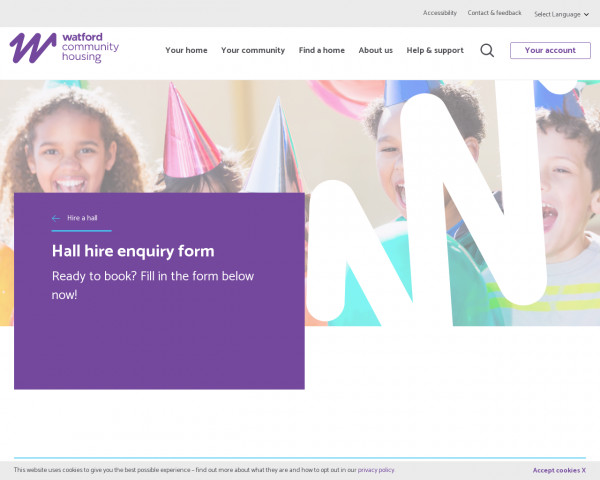 Screenshot of Hall hire enquiry form | Watford Community Housing