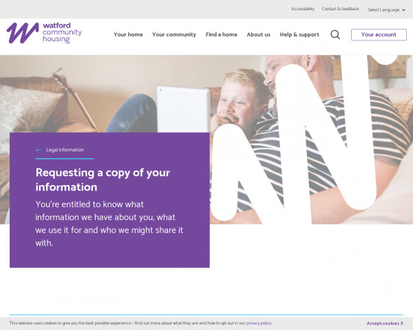 Screenshot of Requesting a copy of your information | Watford Community Housing