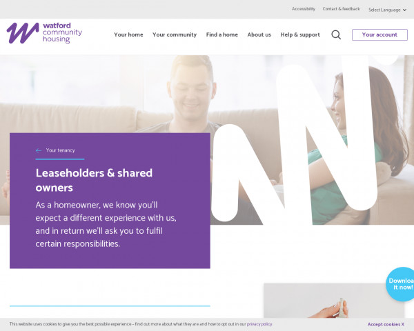 Screenshot of Leaseholders and shared owners   Watford Community Housing