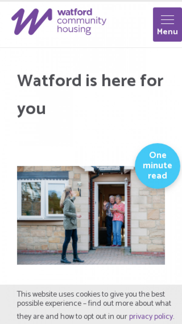 Screenshot of Watford is here for you | Watford Community Housing