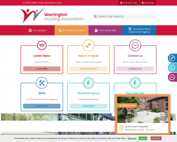 Screenshot of Home - Warrington Housing Association