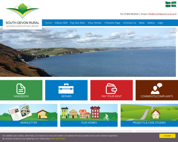 Desktop screenshot of South Devon Rural Housing Association Limited website