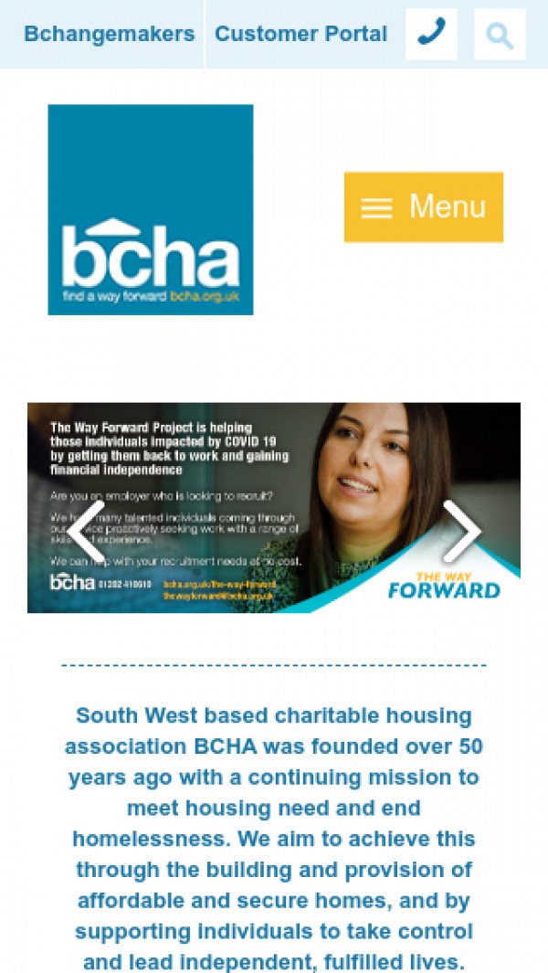 Mobile screenshot of Bournemouth Churches Housing Association Limited website