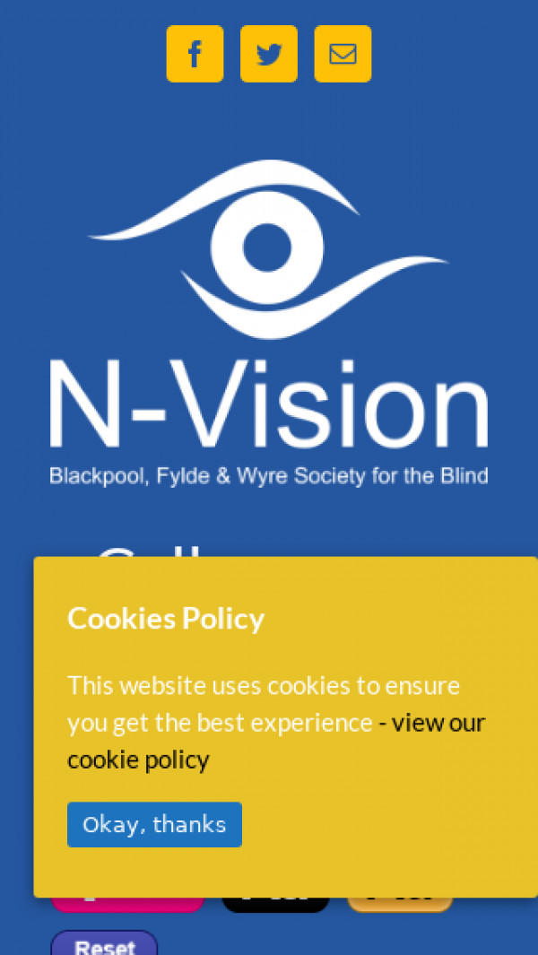 Mobile screenshot of The Blackpool Fylde and Wyre Society for the Blind website