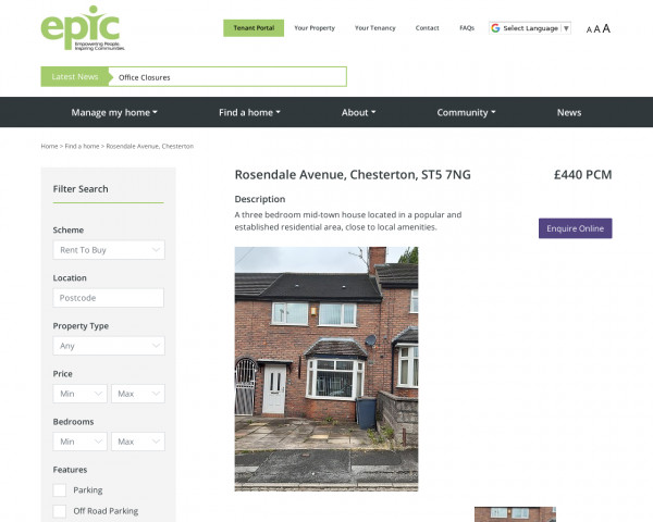 Screenshot of Rosendale Avenue, Chesterton – epichousing.co.uk