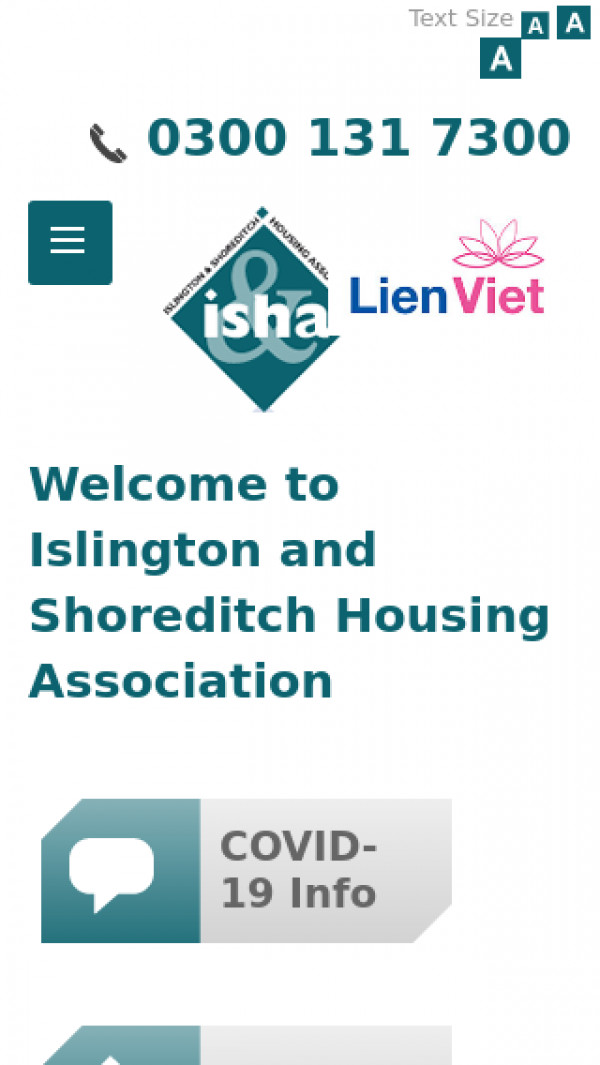 Mobile screenshot of Islington and Shoreditch Housing Association Limited website