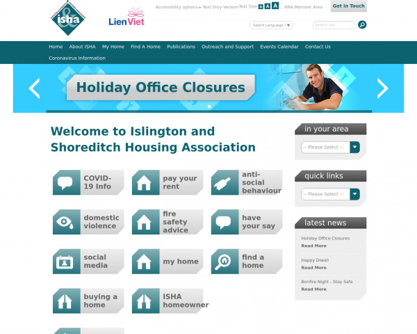 Desktop screenshot of Islington and Shoreditch Housing Association Limited website