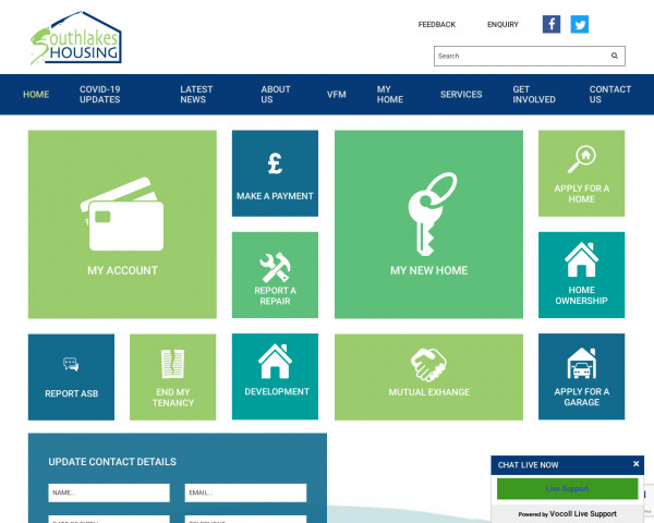 Desktop screenshot of South Lakes Housing website