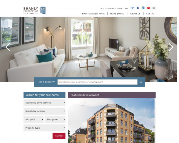 Desktop screenshot of Shanly Partnership Homes Limited website