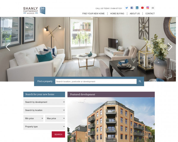Screenshot of Shanly Partnership Homes new shared ownership housing developments across the south east of England