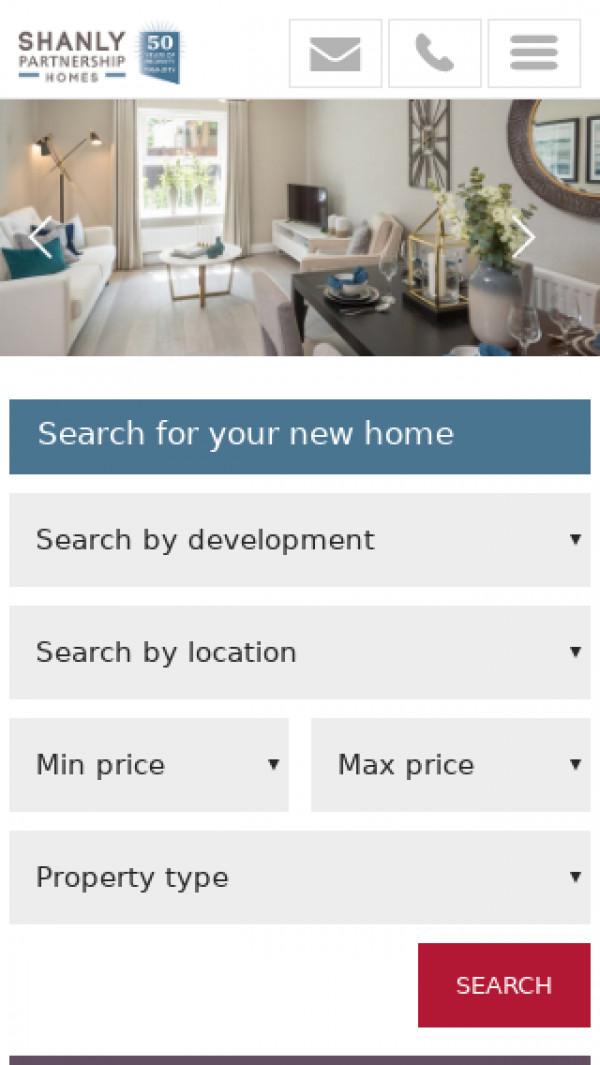 Mobile screenshot of Shanly Partnership Homes Limited website