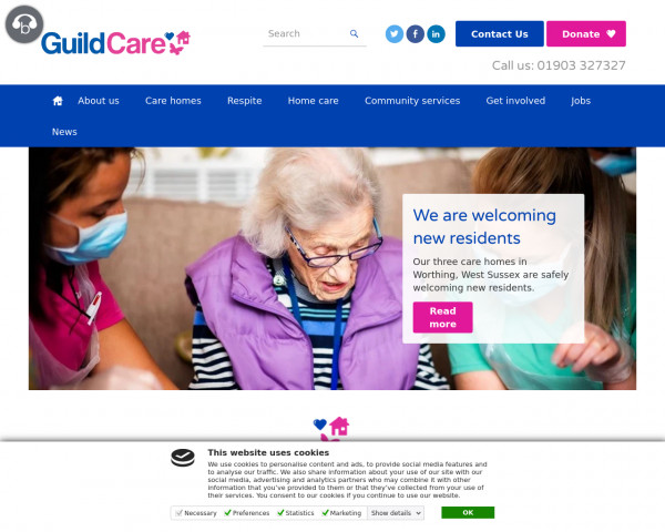 Screenshot of Care Home & Support Services Worthing | Guild Care