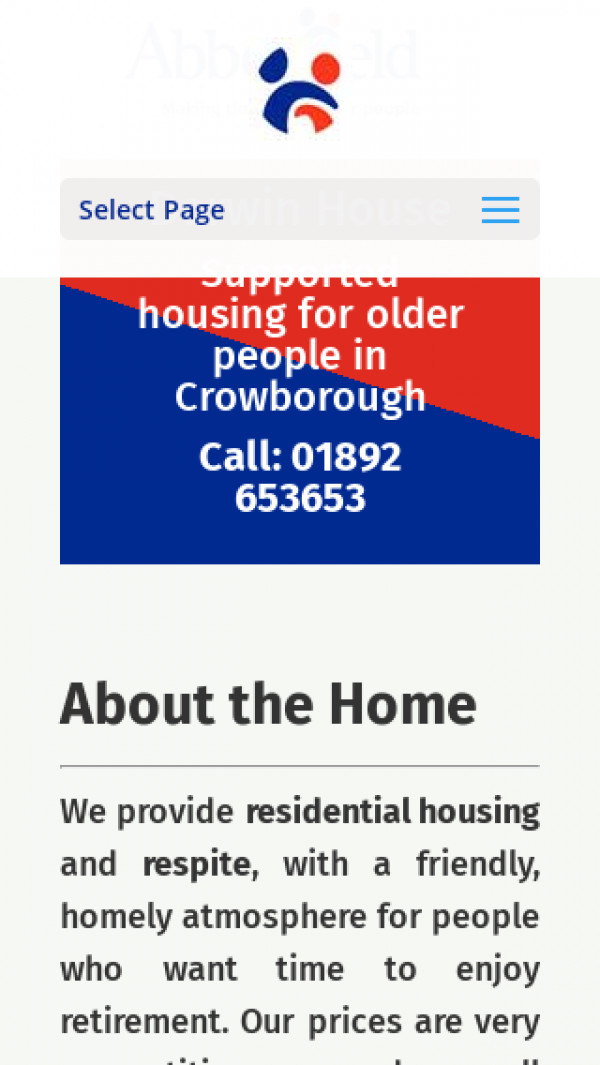 Mobile screenshot of The Abbeyfield Crowborough Society Limited website