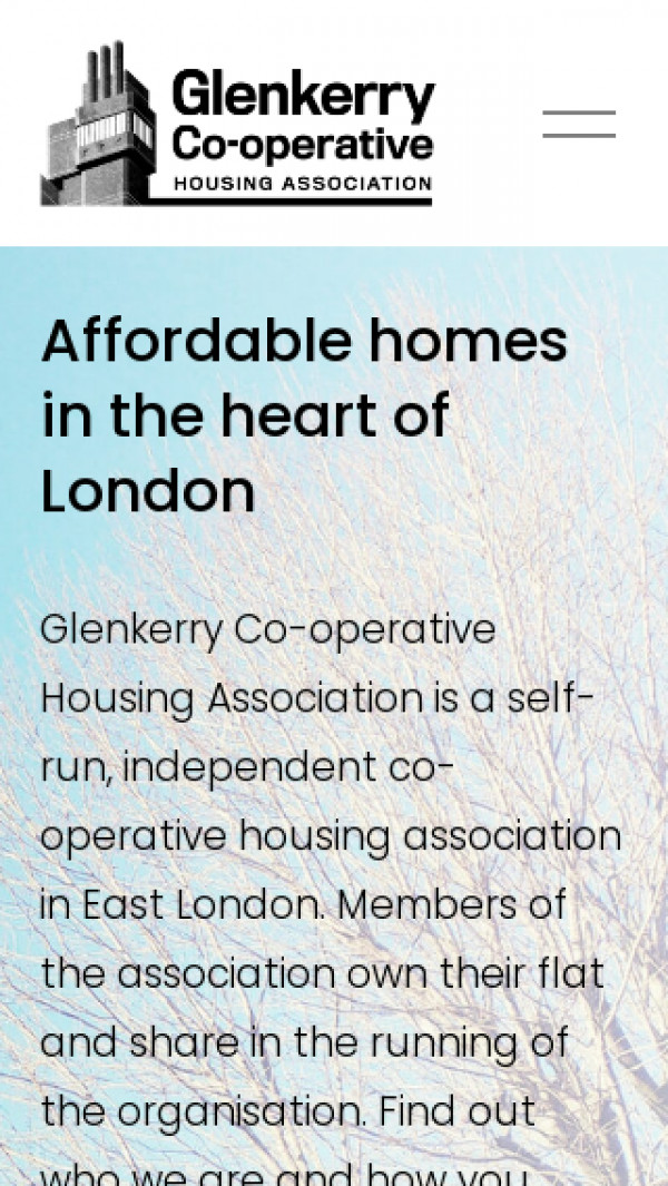 Mobile screenshot of Glenkerry Co-operative Housing Association Limited website