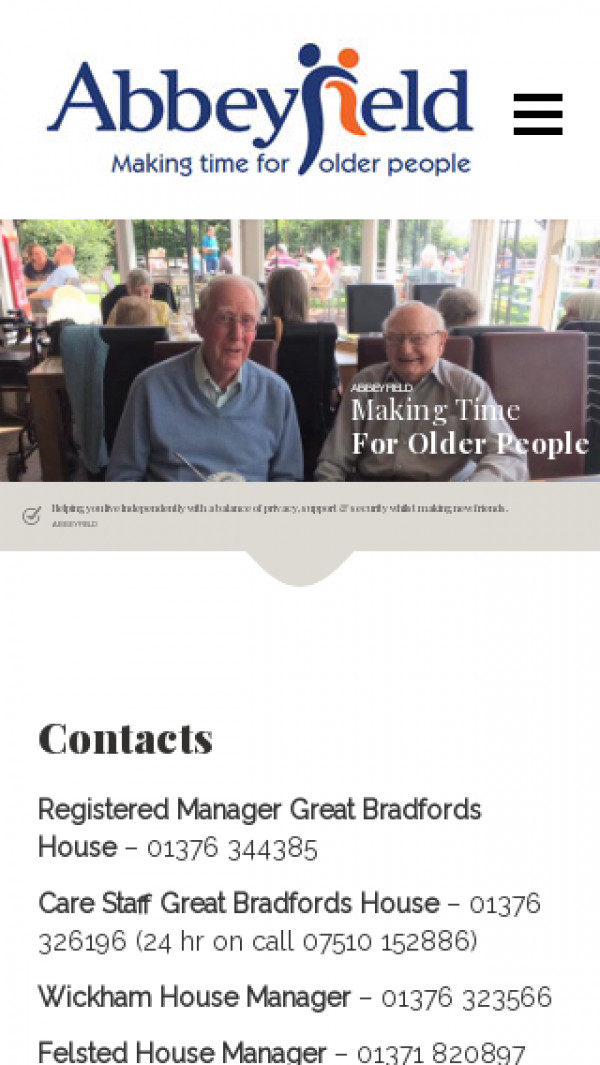 Mobile screenshot of Abbeyfield Braintree, Bocking and Felsted Society Limited website