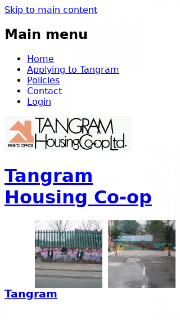 Mobile screenshot of Tangram Housing Co-operative Limited website