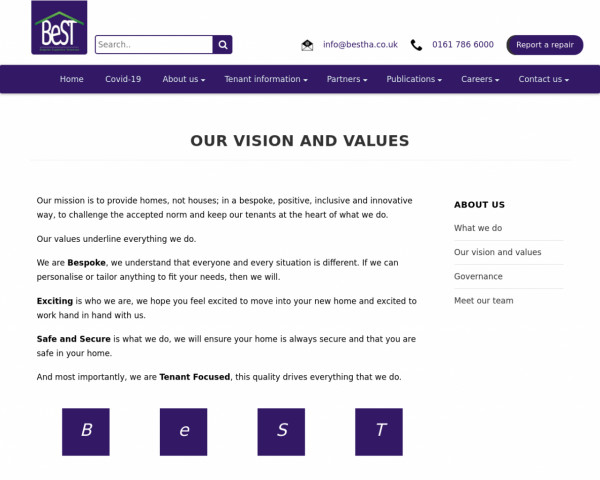 Screenshot of Our Values - Bespoke Supportive Tenancies