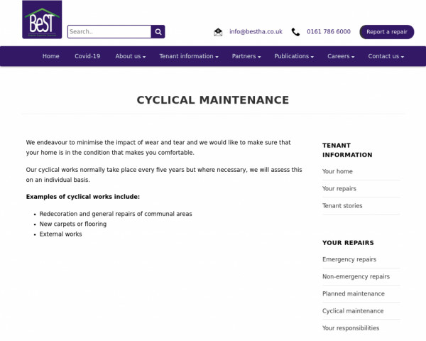 Screenshot of Cyclical Maintenance - Bespoke Supportive Tenancies