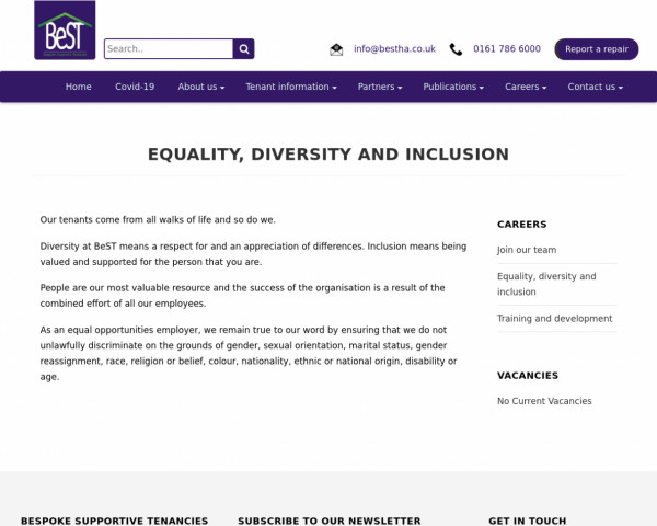 Screenshot of Equality, Diversity and Inclusion - Bespoke Supportive Tenancies