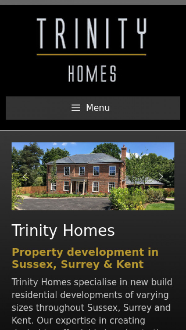 Mobile screenshot of Trinity Homes website