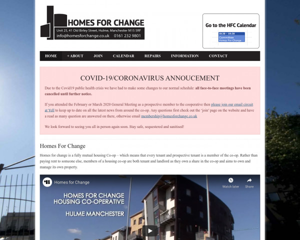 Desktop screenshot of Homes for Change Limited website