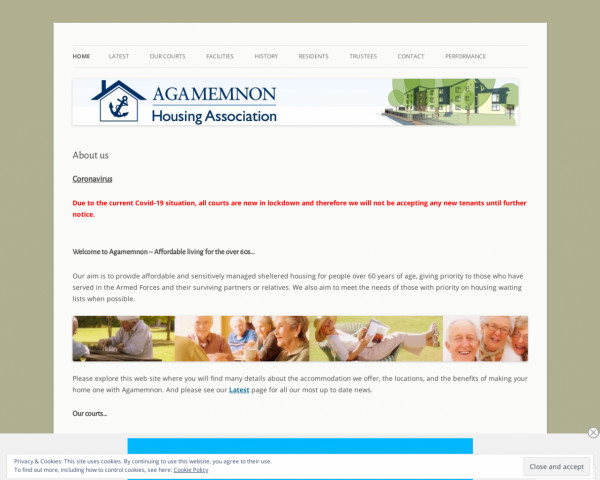 Desktop screenshot of Agamemnon Housing Association Limited website